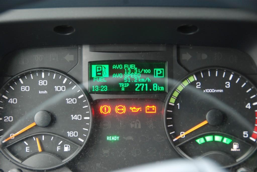 Samochód obciążony ładunkiem ważącym 2400 kg – wcyklu mieszanym spalił 13,3 l/100 km, podczas gdynatrasie międzymiastowej hybrydowy Canter naprzejechanie 100 km bezładunku potrzebował 13,8 l paliwa