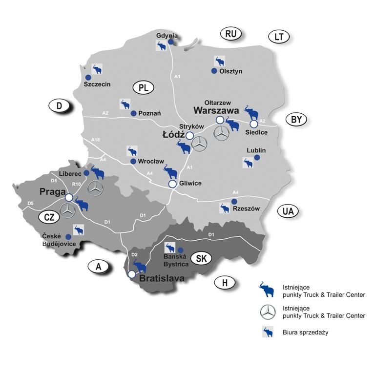 Sieć lokalizacji Grupy EWT wPolsce, Czechach inaSłowacji (fot: EWT)