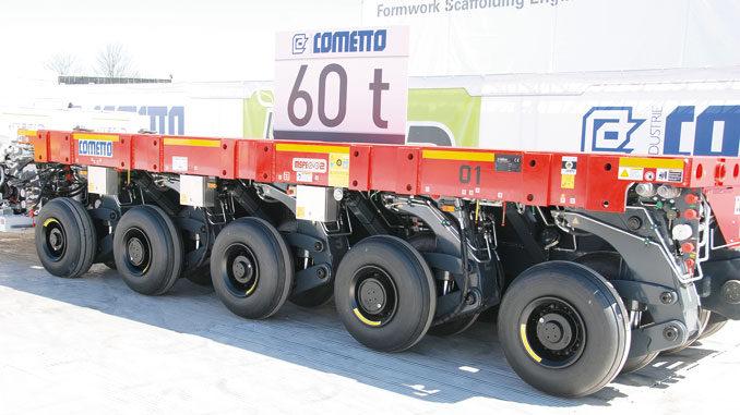 Najnowsze generacje modułów SPMT są już wyposażane wlinie osiowe onośności dochodzącej do45–60 t – nazdjęciu Cometto MSPE Evo2 60T (fot.© D. Piernikarski).