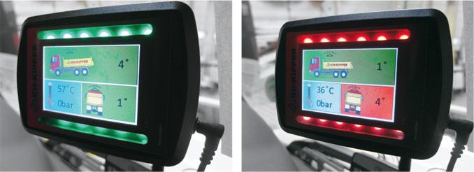 Wyświetlacz systemu mierzenia przechyłu pojazdu montowany wzabudowach KH-kipper. Jego głównym zadaniem jest zwiększenie bezpieczeństwa pracy wywrotki