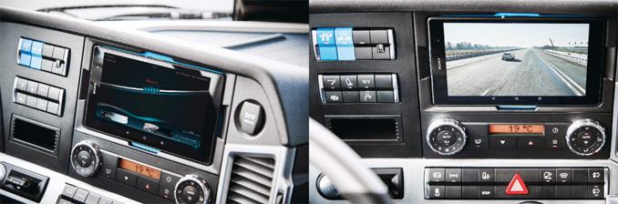 Na 8-calowym wyświetlaczu wkabinie kierowca nabieżąco obserwuje wszystkie parametry związane zjazdą konwoju połączonego – wkażdej chwili można przełączyć się naobraz transmitowany zkamery ciągnika jadącego naczele