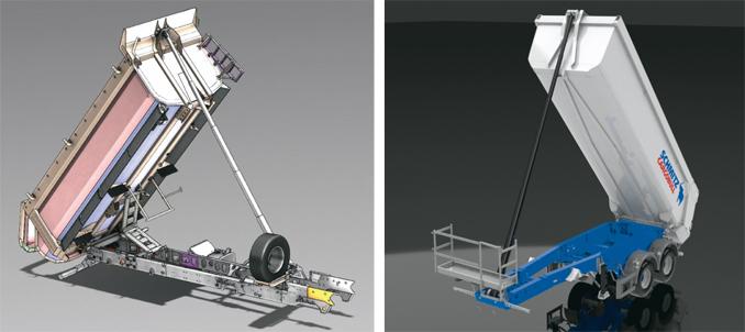 Trójwymiarowy model kompletnej zabudowy wywrotki tylnozsypowej KH-kipper W1U wraz zramą pośrednią (zlewej) orazmodel 2-osiowej naczepy samowyładowczej Schmitz Cargobull S.KI Light (zprawej) (fot.© KH-kipper, © Schmitz Cargobull)
