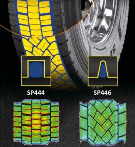 Zoptymalizowany kształt lameli orazbloków bieżnika SP446 wpływa naprzebieg iutrzymanie trakcji namokrej nawierzchni (fot.Goodyear)