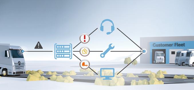 Producenci wykorzystują najnowsze technologie, aby zwiększyć szybkość iskuteczność podejmowania decyzji wzakresie obsług inapraw – zdalne narzędzia diagnostyczne działają wpołączeniu zsystemami zarządzania procesami serwisowymi (fot.Mercedes-Benz)